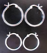 Pair of Snap HOOP Earrings - 18mm 22mm 25mm - 925 Sterling Silver - Gift Boxed