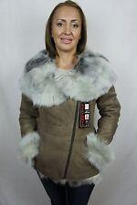 Beige 100% Sheepskin Toscana Shearling Leather Lambskin Hood Coat Jacket XS-5XL