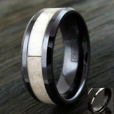 8mm Black Hi-Tech Ceramic Men's Deer Antler Beveled Edge Wedding Band Ring