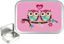 Pink Love Owl's 1oz Silver Hinged Tobacco Tin, 50ml Sewing Tin .Pill Box