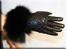 Brand New Quilted Black Lambskin Leather Gloves Black Fox Fur Trim