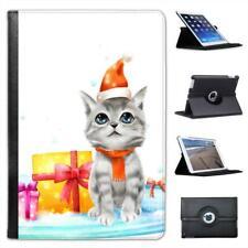 Adorable Grey & White Blue Eyed Christmas Kitten  Leather Case For iPad Mini
