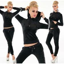 Noble Samtweicher Femmes Velour Survêtement Jogging Costume Noir #sw173