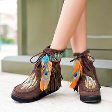 Femme Casual Bohème Indien Style Daim Synthétique Bottines à Lacets Chaussures pompons