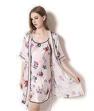 Women's 100% Pure Silk Robe & Gown Set Print Silk Sleepwear Size S M