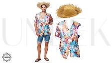 Mens Hawaiian Fancy Dress Costume Summer Floral Shirt & Straw Hat Outfit