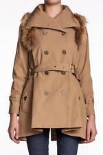 Rebecca Minkoff Women Jacqueline Trench Coat Khaki Fur Double Breasted NEW Camel