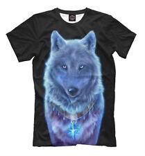 Wolf spirit - wild animal soul black shirt HQ blue print tee with cool image