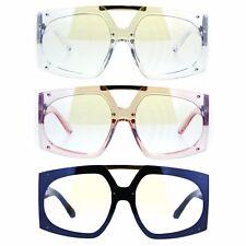 Womens Retro Futurism Plastic Racer Shield Clear Lens Eyeglasses