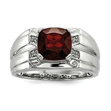Sterling Silver Garnet & Diamond Square Men's Ring