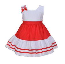 Cinda Bebé Niña Algodón Vestido de fiesta azul, Rojo 3 6 9 12 18 meses