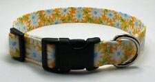 Daisy White on Yellow Dog Collar Adjustable Handmade Custom Designer