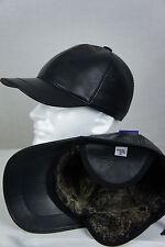 New Black 100% Shearling Leather Earflaps Baseball Cap Hat Biker Trucker M-2XL