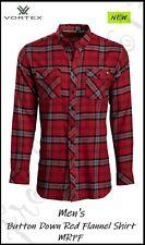 VORTEX Men's Button Down Red Flannel Long Sleeve Shirt - MRPF - Auth Dealer!