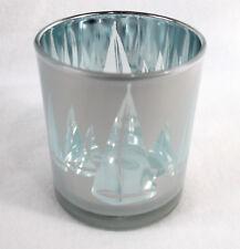 Soporte de vela cristal portavelas 10 x 9cm PLATA GRIS MARÍTIMO Decoración
