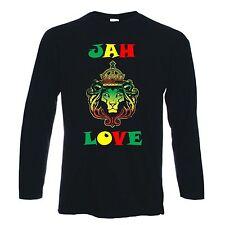 JAH LOVE LONG SLEEVE T-SHIRT - Reggae Rasta Rastafarian Bob Marley - S to XXL