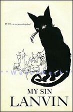 My Sin Black Cat Vintage Poster Print Fashion Lanvin Advertisement FREE US S/H