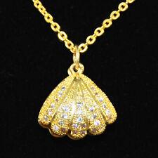 Muschel Anhänger Silber Gold aufklappbar Kette Zirkonia Halskette Acryl Perle