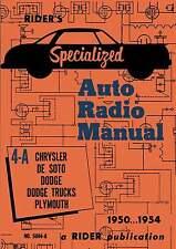 Riders Specialized Auto Radio Manual 4-A * De Soto * Chrysler * CDROM * PDF
