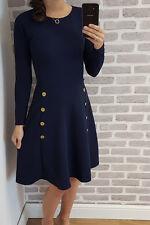 Women's Military Button Skater Swing dress Long Sleeve Ladies UK 8-28 Plus Size