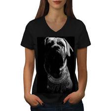 Cara de perro boxer Arte Animal Mujeres Escote en V Camiseta Nuevo | wellcoda