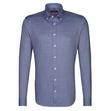 Seidensticker Herren Langarm Hemd SLIM blau strukturiert B.D. 677492.17