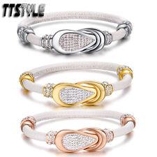 TTstyle Stainless Steel Magnet Buckle Bracelet White Wristband NEW