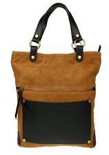Italian Genuine Suede Real Leather Shoulder Bag Oversized Top Handle Office BagT