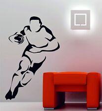 Joueur de rugby sport mur de vinyle décoratif Art Sticker Autocollant CHAMBRE
