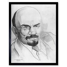 Vasil 'evič Annenkov Ritratto BOLSCEVICO Vladimir Lenin URSS Disegno Incorniciato Wall Art Print