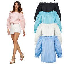 Designer Damen Bluse Shirt Top Sommer Tunika Rüschen Damentop D-322 S-L