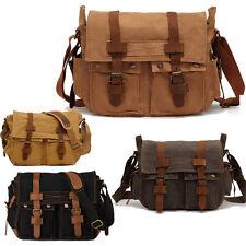 Men Military Canvas Leather Vintage Style Satchel School Shoulder Messenger Bag