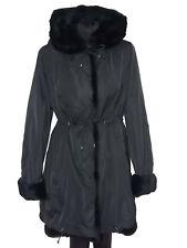 femmes léger veste de fourrure noir Parka Noir pelzgefüttert jusqu'à taille 46