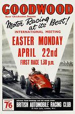 Goodwood Grand Prix  race  April vintage poster, 1955, repro.