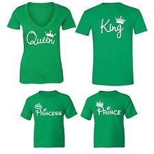 Couples Matching Tshirt King Queen Prince Princess Vneck + Crewneck T-shirt Gren