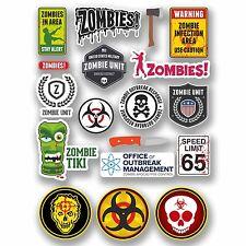 Hoja De Tamaño A4 18 X diferentes Zombie Vinilo Stickers Biohazard advertencia muerto caminando # 9763