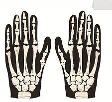 Guantes de esqueleto de impresión de Hueso Accesorio Vestido de fantasía de Halloween para adulto y niño tamaño