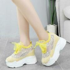 Womens Lace Mesh Shoes Summer Creeper Sneaker Platform Wedge High Heel Sandals