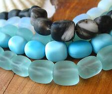 "PICK 8"" 12mm 18mm freeform sea glass large nugget beads blue black seafoam"