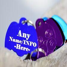 Engraved Pet Tags Dog Cat ID personalised Bling Bone dog Shaped FREE ring collar