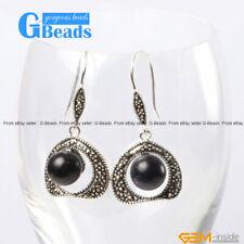 Pretty 10mm Round Ball Beads 20mm Frame Tibetan Silver Dangle Earrings
