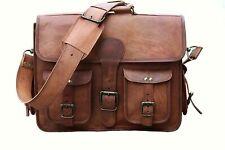 Men's Real Goat Laptop Briefcase Leather Vintage Brown Bag Messenger Shoulder