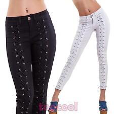 Pantaloni donna jeans stringati lacci aderenti slim fit sexy skinny nuovi K17312