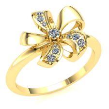 Genuine 0.15ct Round Cut Diamond Fancy Flower Bridal Engagement Ring 14K Gold