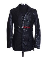 Freddie Black Men's Classic Styled Smart Real Sheep Leather Blazer Jackets