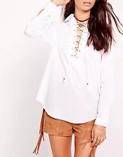 Missguided chambray lattice shirt white (M29/8)