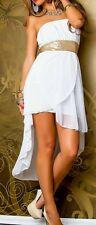 SeXy Miss high low Chiffon Kleid Bandeau Glam Pailletten Dress 34 36 38 40 weiß