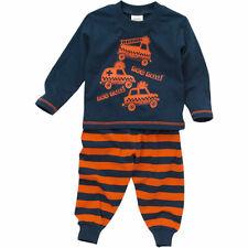 Bedlam Younger Boys Nee Naa Fire Engine Long Sleeve Leg Striped Pyjamas Navy