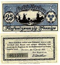 NOTGELD petit billet de 25 pfenning ALLEMAGNE  1921