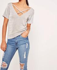 Women's Missguided slinky cross front t shirt grey (M58/4)